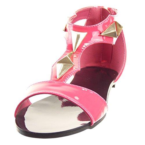 Sopily - Zapatillas de Moda Sandalias Abierto correa Caña baja mujer brillantes tachonado Talón Tacón ancho 1 CM - Azul