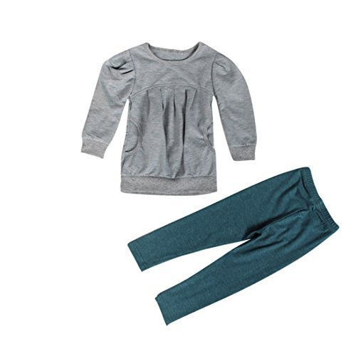 Lonsbo Toddler Girls Outfit Clothes Fashion Winter Fall Warm Long Sleeve Tops and Long Pants Set 3T, Grey