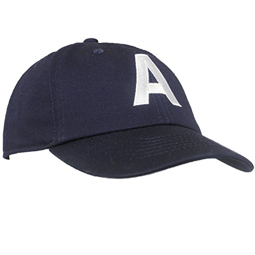 Tiny Expressions Toddler Boys' and Girls' Navy Embroidered Initial Baseball Hat Monogrammed Cap (A, - Monogrammed Baby Hats