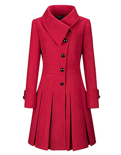 BubbleKiss Women Fold-Over Collar Single Breasted Plain Swing Woolen Coat (Ladies Swing Coat)
