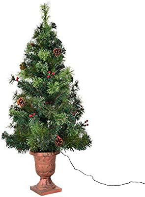 4 Ft Christmas Tree.Goplus 4 Ft Christmas Tree Pre Lit Tabletop Artificial Entrance Tree With 60 Led Lights Gold Urn Base Pine Cones And Red Berries 4 Ft Led Light
