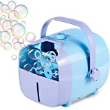 1 BY ONE Automatic Portable Bubble Blower Machine for Kids,Plug-in or Batteries Operated (Purple/Blue)