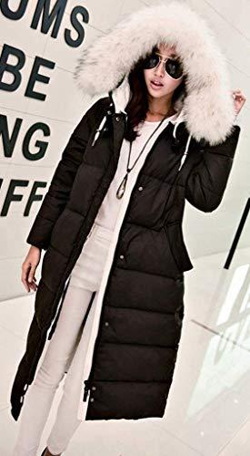 Retro Largos Otoño Acolchada Piel Cuello Con Colores Moda Pluma Abrigos Chaqueta Capucha Larga Manga Mujer De Casual Invierno Bolsillos Sintética Cremallera Sólidos Elegantes Schwarz Capa 7qzxw0A