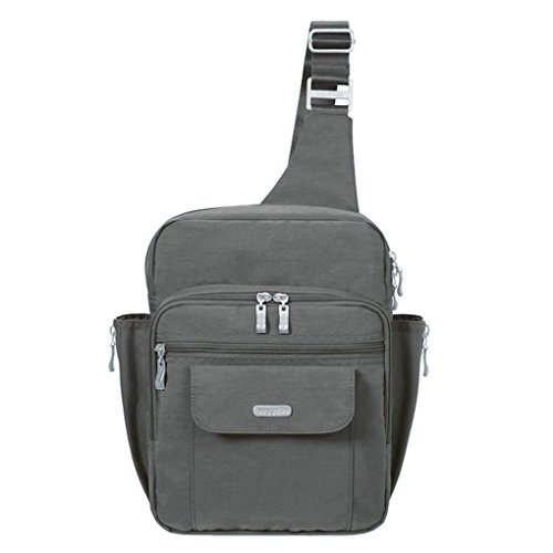 Baggallini Messenger Sling Organizer Shoulder Backpack Bag (Charcoal/MES160)