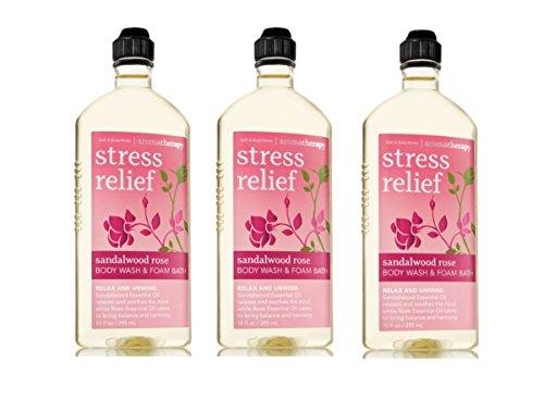 Lot of 3 Bath Body Works Aromatherapy Sandalwood Rose Stress Relief Body Wash Foam Bath Sandalwood Rose