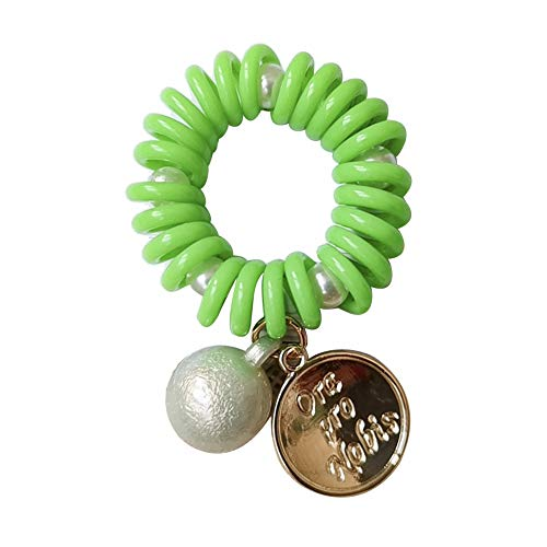 xxiaoTHAWxe Women Round Disc Faux Pearl Phone Wire Elastic Spiral Coil Hair Rope Bracelet Cute& Soft & Finest & Fashion Hair Ropes Fits All Women & Teens Girls Green ()