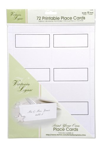 Darice VL3481, 72-Count Place Cards, 12-Sheets, White Silver Trim