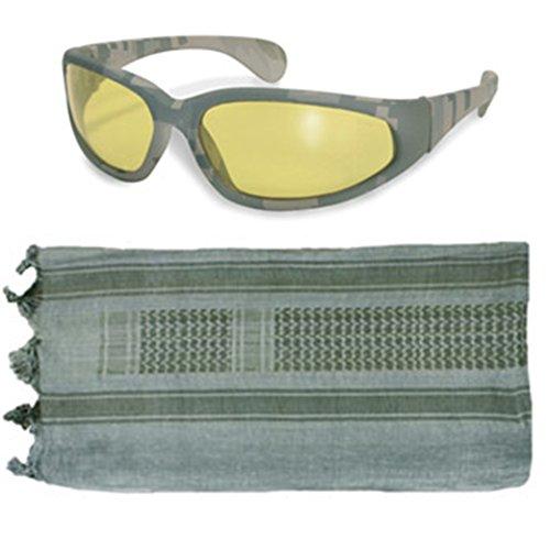 Tactical Blue-Green/OD Shemagh + ACU Digital Amber Lens UV400 - Sunglasses Voodoo