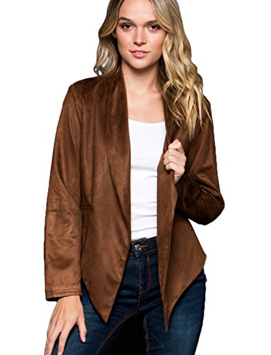 Faux Suede Wrap (J. LOVNY Womens Light Weight Open Front Draped Faux Suede Wrap Jacket)
