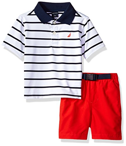 Nautica Baby Boys Two Piece Set with Synthetic Polo Shirt and Short