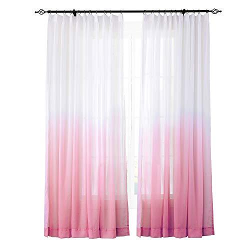 ChadMade Indoor Outdoor Gradient Ombre Sheer Curtain Pinch Pleat Rose 52