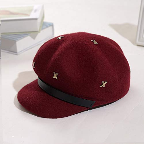 amazwn Hat Female Autumn Winter Wool Feather Beret Top Cap Leisure Duck Tongue Cap Felt Cap,E