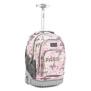 Tilami New Antifouling Design 18 Inch Human Engineering Design Laptop Wheeled Rolling Backpack Luggage for Girls(Pink Butterfly)