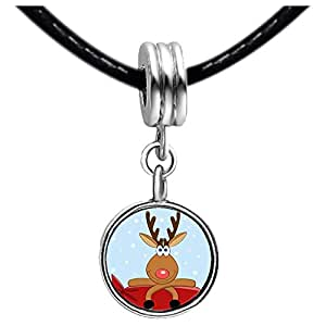 Chicforest Silver Plated Happy Christmas Reindeer Photo Blue Aquamarine Crystal March Birthstone Flower dangle Charm Beads Fits Pandora Charms