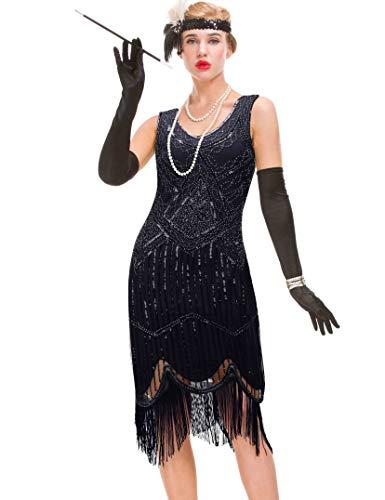GVOICE Women's 20S Gatsby Dress - Inspired Art Deco Flapper Dress (L, Black) -