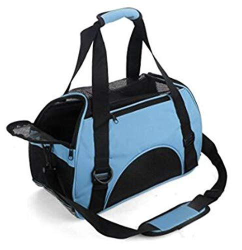 (MisteSun Cat Carrier,Soft-Sided Pet Travel Carrier for Cats,Dogs Puppy Comfort Portable Foldable Pet Bag Airline Approved (Small, Blue))