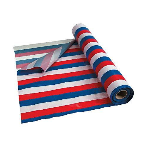 Red White and Blue Striped Tablecloth Roll for Fourth of July (100 ft)]()