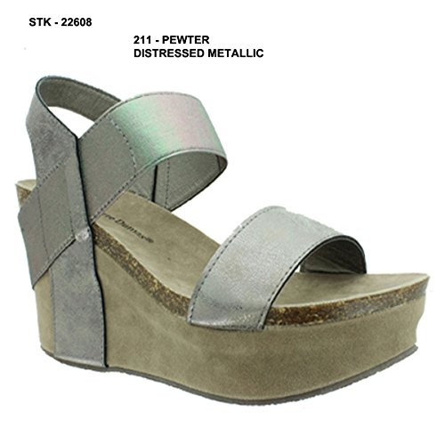 Sandals Hester Pewter Platform Wedge Women's Pierre 1 Dumas ABUqwHH1