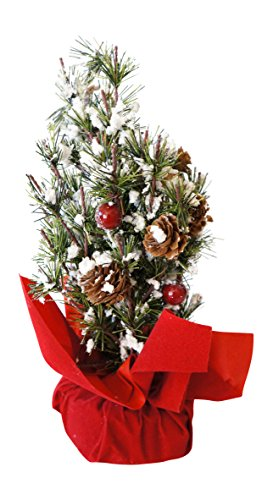 Small Snowy Christmas Tree in Red Gift Bag with Berries and Pinecones (Tree Small Decorate Christmas)