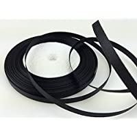 "Solid Color Satin Ribbon 1/4"",25yds (black)"
