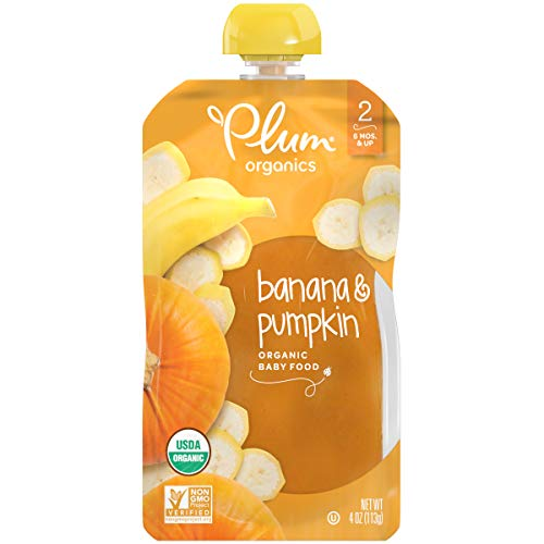 Plum Organics Stage 2, Organic Baby Food, Banana and Pumpkin, 4 Ounce Pouches (Pack of 12)