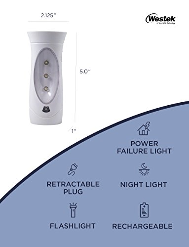 Amertac Amerelle LED Power Failure Light - A Backup Plug-In Emergency Preparedness Flashlight - Portable / Rechargeable - Ideal for Use Throughout Your Home for Night Power Failures - 6 Pack, 71134CC