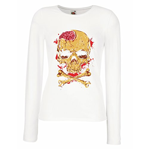 shirt Bianco Il lunghe T Multicolore Maniche femminili teschio tHwFqOq