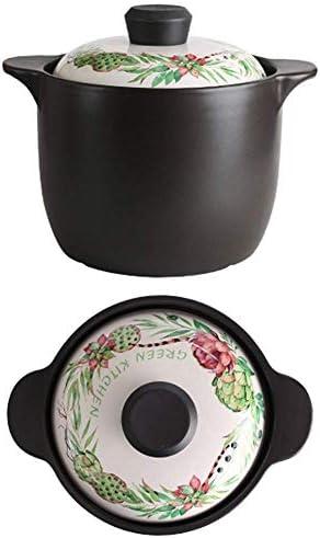 DYFYF Casserole Pot große Kapazitäts-Haushaltsgas Große Vintage-Auflauf Compact Rund Casserole Suppe Keramik Topf Porridge Geschmortes Hähnchen (Size : 4L)