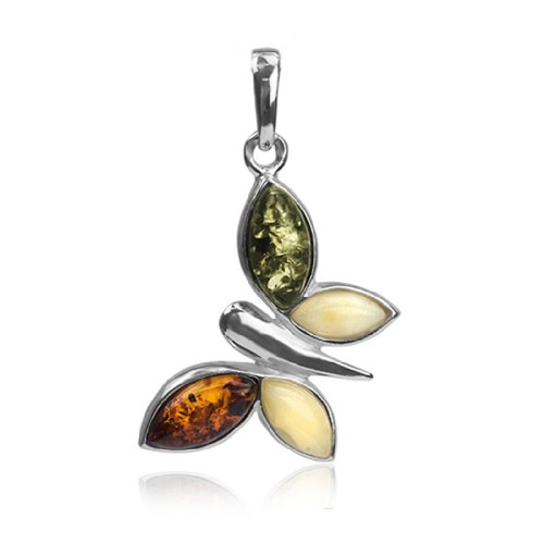 Sterling Silver Multicolor Amber Butterfly (Amber Butterfly Necklace)