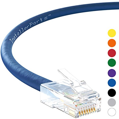 InstallerParts Ethernet Cable CAT5E Cable UTP Non-Booted 15 FT - Blue - Professional Series - 1Gigabit/Sec Network/Internet Cable, 350MHZ