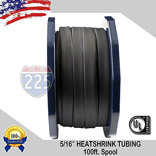 Heat Shrink Tubing Tube Cable 100 FT. 100' Feet BLACK 5/16