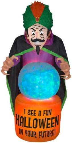 oldzon Inflatable 7.5' Projection Airblown Fire & Ice Fortune Teller Halloween Yard Decoration with -