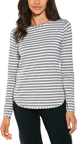 Coolibar UPF 50+ Women's Heyday Side Split Shirt - Sun Protective (Medium- Grey & White Stripe)