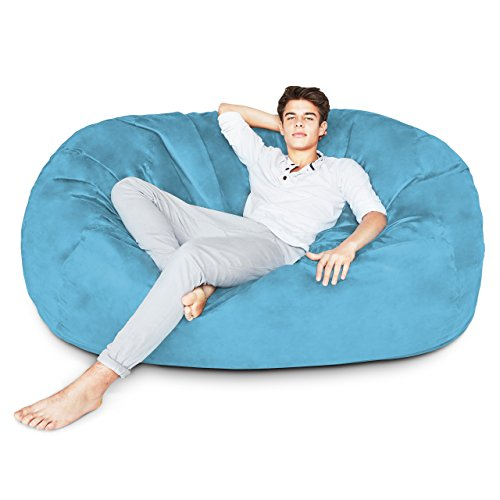 Lumaland Luxury 6-Foot Bean Bag Chair with Microsuede Cover Light Blue, Machine Washable Big Size Sofa and Giant Lounger Furniture for Kids, Teens and ()