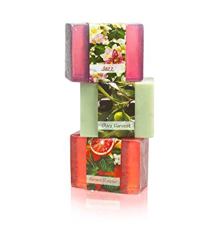 Full Bloom Vegetable Glycerin Bar Soap, 3 Bar Sampler Set 3, Jazz, Olive Harvest, Amaro Rosso, 4.5oz 127.5g each