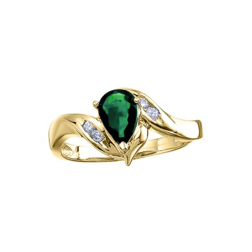 14k Yellow Gold Pear Emerald And Diamond Swirl Ring. Size 8 - Gold Genuine Emerald Ring