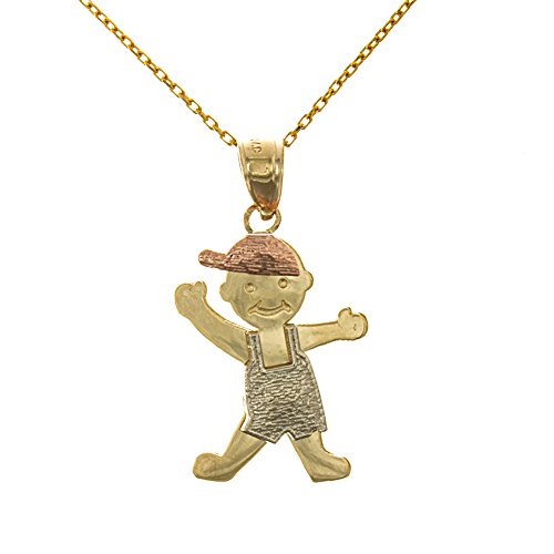 14k Tri-Color Gold Necklace Pendant with Chain, Large Size Little Boy with Rose Cap and White Jumper by Million Charms