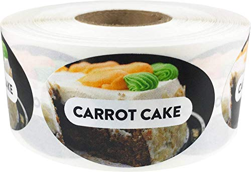 Carrot Cake Grocery Store Food Labels 1.25 x 2 Inch Oval Shape 500 Total Adhesive ()