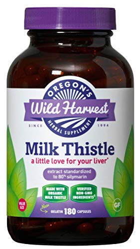 Oregon's Wild Harvest Milk Thistle Organic Non-GMO Herbal Supplement, 180Count