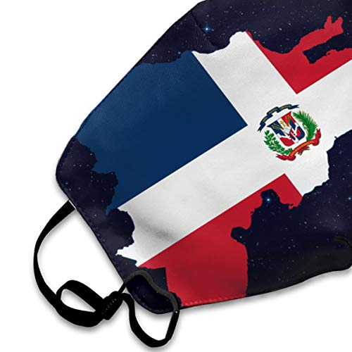 Dominican Republic Map Flag Men's Women's Anti Dust Face Mouth Mask for Camping Riding | Reusable Anti-Dust Mouth Mask White
