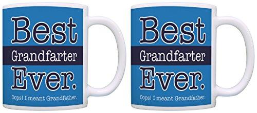 Best Grandpa Gifts Best Grandfarter Ever Oops Grandfather New Grandpa Gifts for New Grandpa 2 Pack Gift Coffee Mugs Tea Cups Blue