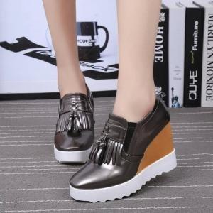 hexiajia - Zapatos Planos con Cordones mujer plata