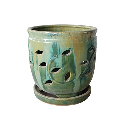 Better-way Floral Round Ceramic Flower Container Succulent Plant Planter Butterfly Orchid Pot Saucer Windowsill Contemporary Home Decoration (6 Inch, Forest Green) (Floral Ceramic Contemporary)