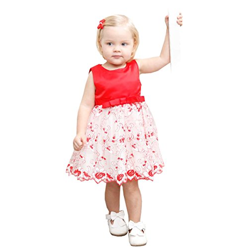Easter Church Dress - Red 2T Girl Christmas Dress Kids Holiday Flower Easter Princess Lace Dresses