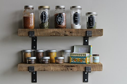 Reclaimed Wood Accent Shelves Rustic Industrial - Amish Handcrafted in Lancaster County, PA - Set of Two   24 Inches, (Genuine Salvaged/Reclaimed with Raw Metal Brackets) (Natural 24''x 7''x 2'') by Urban Legacy (Image #1)