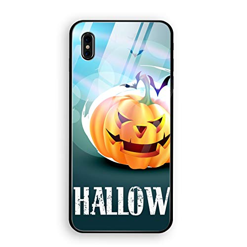 Halloween Pumpkin Phone X Case with Phone stents,Tempered Glass Back Cover + TPU Frame Hybrid Shell Slim Case for Phone X]()