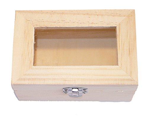 Holzbox - Schatztruhe - Echt Kiefernholz - rechteckig - mit Acryl-Glas im Deckel - Metall Verschluss - Medium - (1x1Stück)