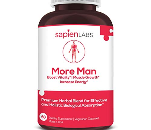 Testosterone Booster - Made in USA - Horny Goat Weed, Shilajit, Maca Root - Build Muscle, Calm Anxiety, Improve Vitality - Premium, Holistic Herbal Blend by Sapien Labs