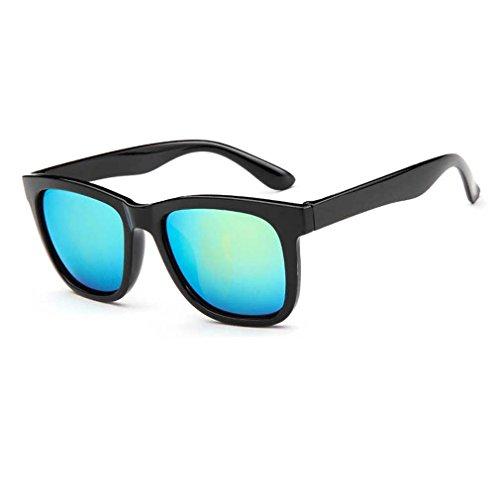 Mens Bright Black Horn Rimmed Square Wayfarer Sunglasses Colorful Mirrored Lenses - Sunglass Does Hut Prescription Do Lenses