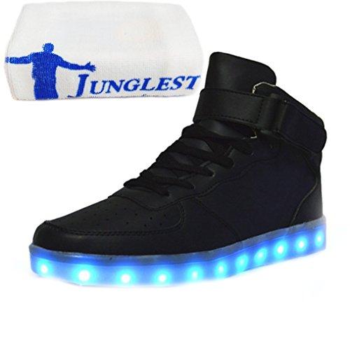 [Present:kleines Handtuch]JUNGLEST® Brinny 7 Farbe Sneaker USB Aufladen LED Leuchtend Fasching Partyschuhe Unisex Sportschuhe Turnschuhe Laufschuhe fü Schwarz